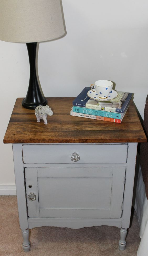 antique commode in Paris grey ASCP and Provincial minwax stain.  By PivotPaintCreate. One of my favourite redos!