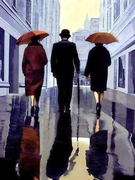 Jacqueline Osborn ~ Rainy Street. Stories on canvas: