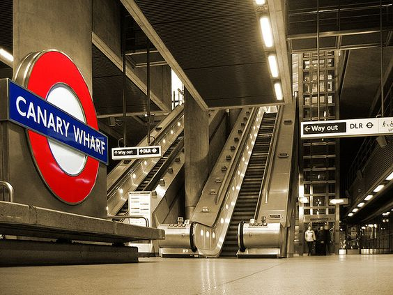 Canary WHarf Tube Station by Sir Norman Foster. PHoto by David Bank on Flickr.