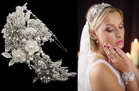 The Trinity Headband: Double lace band encrusted with diamante, freshwater pearls and glass beads: £255.00 (M11)
