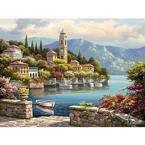Village Landscape Van Go Paint By Number Kit Canvas Oil Painting Diy Paint By Number Kits Wall Art Pictures