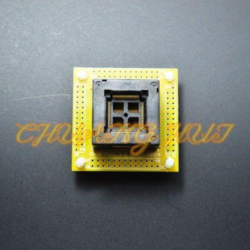 64.00$  Watch now - http://aliub3.worldwells.pw/go.php?t=32596415288 - IC TEST  QFP100 test socket TQFP100 LQFP100 ic socket  with PCB 0.5mm pitch size 14mmx14mm 16mmx16mm