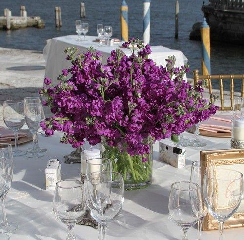Purple stock centerpiece google search flowers