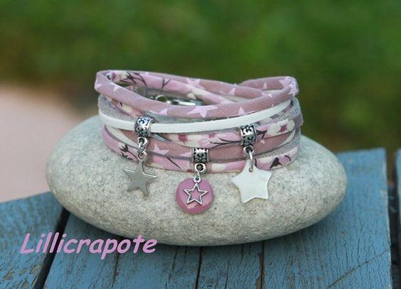 Bracelet cordon liberty mitsi mauve 2 tours _  blanc argenté mauve bois de rose _ breloque étoile nacre