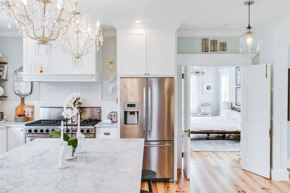 #farmhouse #fridge #kitchen #chandelier #stainlesssteel