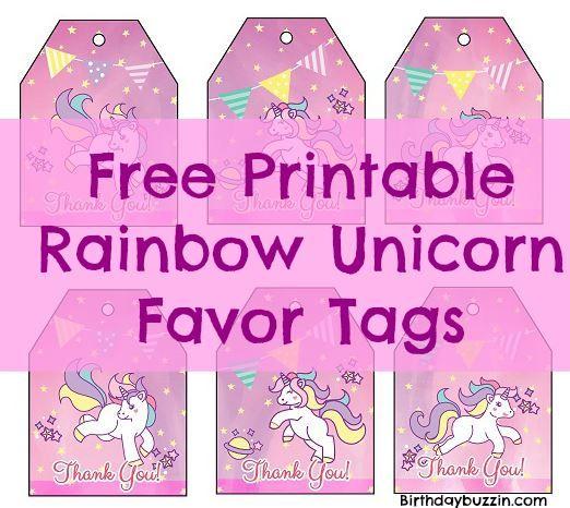 Free Printable Rainbow Unicorn Favor Tags Birthday Buzzin Unicorn Birthday Invitations Birthday Party Printables Free Free Birthday Gift Tags