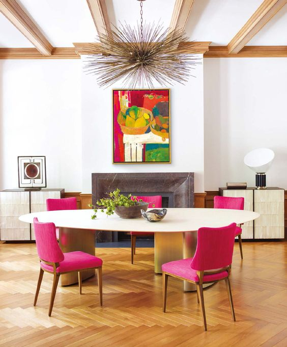 Bolection styled mantel featured in a dinning room designed by Lucien Reese Roberts and Deborah Hancock.