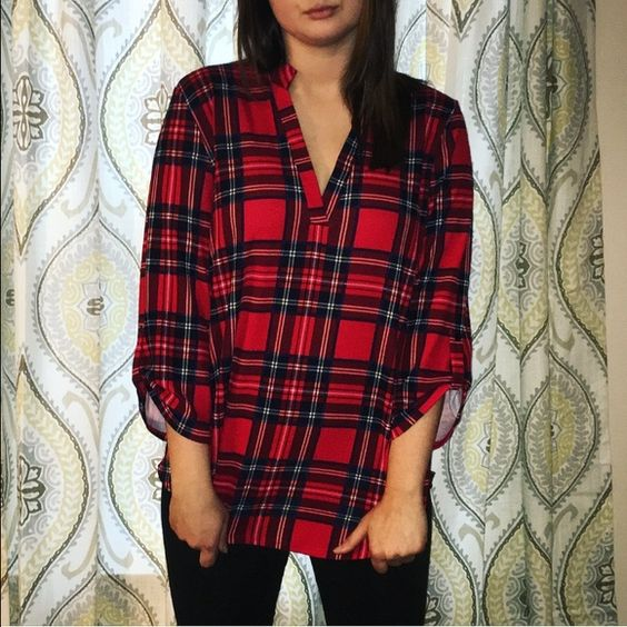 Buffalo plaid v-neck This buffalo plaid v-neck is sure to be one of your favorites! ❤️ I'm normally a medium/large, but bought this in XL so it would fit oversized // 92% polyester, 8% spandex. Hand OR machine wash in cold water. boutique Tops