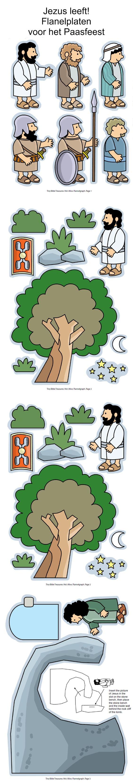 Pasen, Hij leeft, flanelplaten voor kleuters, kleuteridee.nl , He 's alive, Flannel Bible Sheets, free printable: