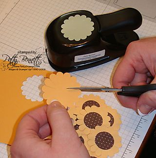 """Sunflower punch art- uses 1"""" circle punch"""
