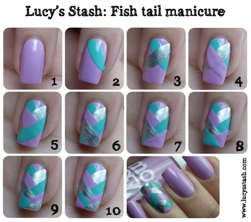 Fishtail Manicure Tutorial - This is actually pretty cool. Not sure my nails are long enough anymore to pull this off, though..