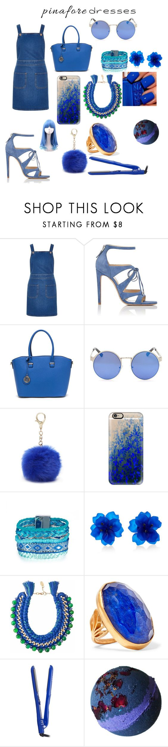 """""""Untitled #320"""" by jermiahwalters ❤ liked on Polyvore featuring River Island, Chloe Gosselin, Nine West, Casetify, Matthew&Melka, Ricardo Rodriguez, Katerina Makriyianni, PYT, pinafores and 60secondstyle"""
