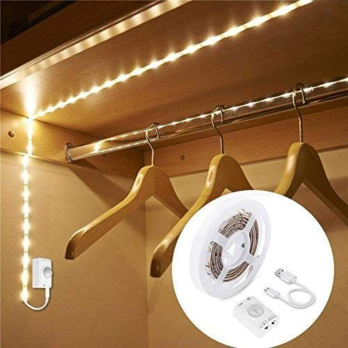 1m Rechargeable Motion Sensor Wardrobe Light Luxjet Flexible Led Strip With 30led Pir And Light Sensor Warmwhite Night Light For Wall Closet Cabine In 2020 Motion Sensor Closet Light Led Closet