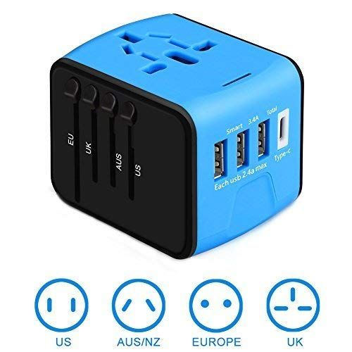 4USB+Type-C Universal Travel Adapter Wall Charger AC Power Converter US UK AU EU
