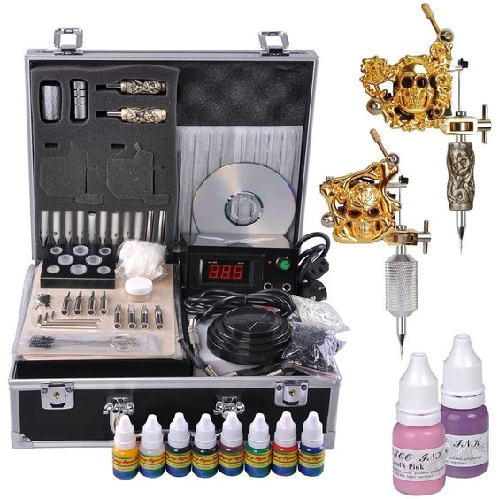 2 Professional Gold Chrome Tattoo Machine Kit