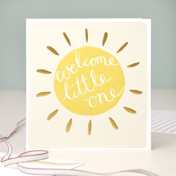 Calligraphy new baby cards and modern on