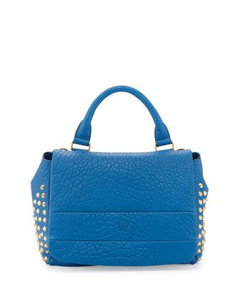 Keana+Studded+Lambskin+Satchel+Bag,+Blue+by+MCM+at+Neiman+Marcus.