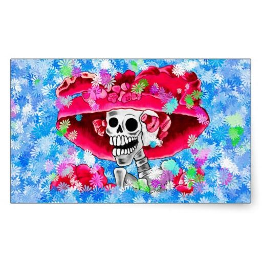 Laughing Skeleton Woman in Red Bonnet on Blue Rectangular Stickers by #Fall_Seasons_Best #LaCatrina