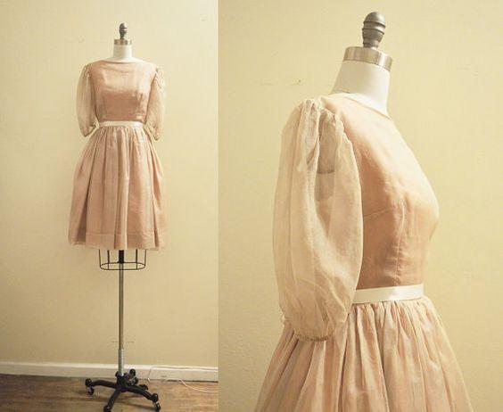 Vintage 1950's Silk Organza Nude/Tan and by mirandavintagebridal, $145.00