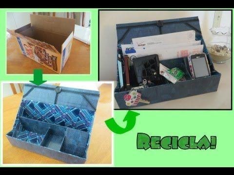 Como hacer un organizador de escritorio reciclando cart n - Organizador escritorio ...