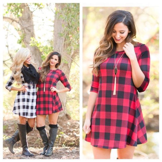 """COMING SOON 11/25❗️ This beyond adorable checkered dress will prove that you're the 'hostess with the mostest' in every way! 3/4 sleeve, red-and-black checkered plaid A-line dress with round neckline and slight flare. Unlined.  95% Polyester, 5% Spandex. Made in the USA!   Model is 5'5, Size 6, 34C, and is wearing the Medium.  Approximate length: 36'-37.5"""" Dresses"""