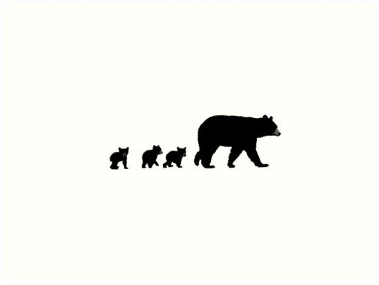 Mama Bear And Her Cubs Art Print By Art Landing Mama Bear Tattoos Momma Bear Tattoo Bear Tattoos
