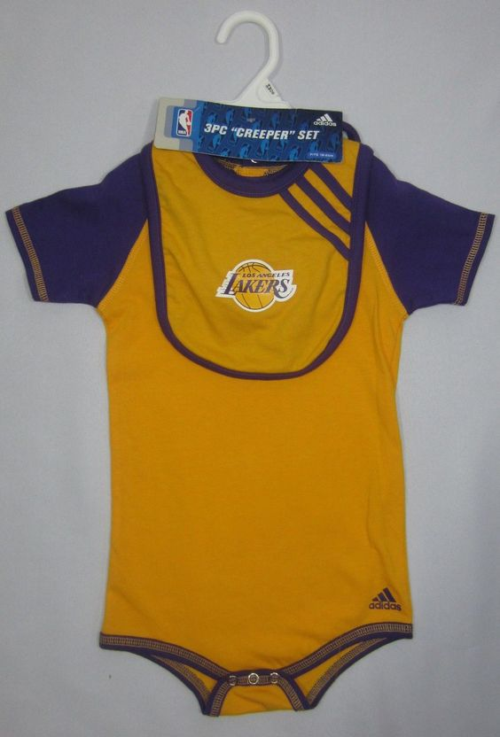 New Adidas 3 Piece Baby Clothes Set NBA LA Los Angeles Lakers Bib 24 Months 2T
