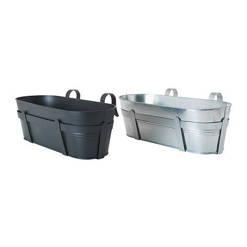 £12 HÖSTÖ Flower box with holder IKEA Galvanized for rust resistance. Weather-resistant and durable.