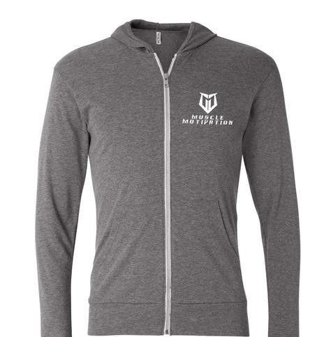 Muscle Motivation Tri-blend Full-Zip Lightweight Hoodie - Grey