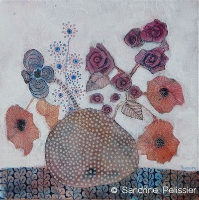 Watercolor and mixed media paintings by Sandrine Pelissier: Flowers Gallery - Sandrine Pelissier, Watercolor and mixed media paintings