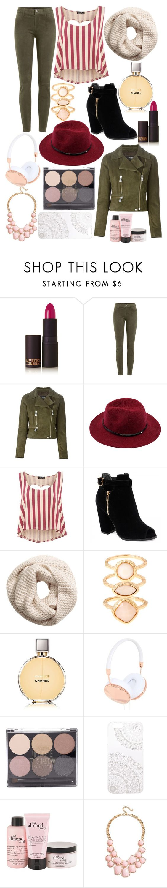 """red and kaki"" by enjoyrosa ❤ liked on Polyvore featuring Lipstick Queen, J Brand, Versus, Te Amo, H&M, Monsoon, Chanel, Frends, Forever 21 and Monika Strigel"