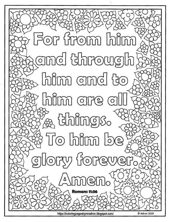 Free Lent Day 37 Print And Color Page With Romans 11 36 Scripture Bible Verse Coloring Page Bible Verse Coloring Coloring Pages For Kids