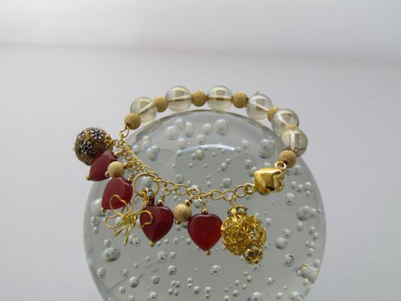Golden Hues Bracelet with Champagne Quartz by eclecticandgorgeous, £12.00