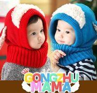 De los niños bombardero Invierno Sombreros lindo perrito de la historieta siamés Cap cálido chal Cómodo Capa adecuados para el bebé 6-36 meses