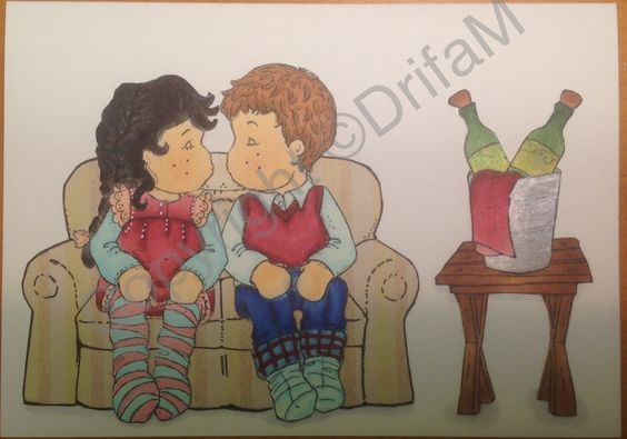 Magnolia kissing couple, sofa stamped on scrap paper, rest is copics