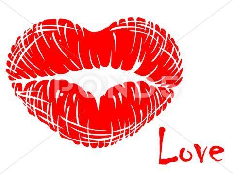 Red Lips In Heart Shape Stock Illustration Ad Heart Lips Red