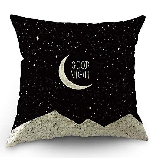 Moslion Moon Pillows Decorative Throw Pillow Cover Case Night Sky Moon Stars Mountain Good Night Quot Linen Pillow Cases Decorative Throw Pillow Covers Pillows