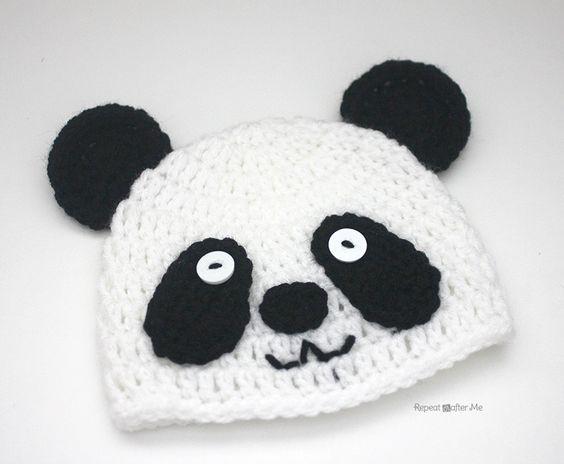 Repeat Crafter Me: Crochet Panda Bear Hat free pattern