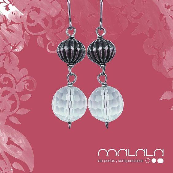 #pendientes de #cristal y #plata  #earings #silver #accesories #diseñoExclusivo #elegancia #fashion #femenino #fino  #gift #guapa #handmade #hautecouturejewelry #instafashion #jewel #joya #joyeria  #joyeriadediseño #ladies #MadeinSpain #madrid #magia #MalalaDePerlas
