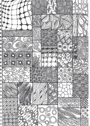 zentangle pattern sheet by *carolion* ready to trade atc's again, via Flickr: