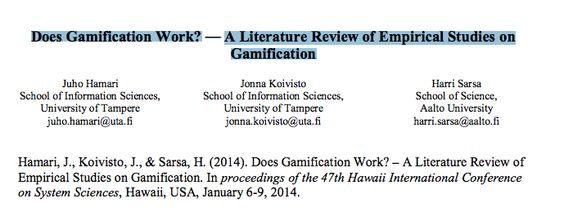 Does Gamification Work? u2014 A Literature Review of Empirical Studies - literature review