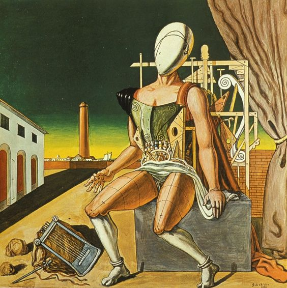 Giorgio de Chirico utilizó la metafísica para explicar y explotar su obra, la que pone en contexto al ser humano en lo más fundamental de su existencia, su relación con la naturaleza junto con sus componentes y estructura.