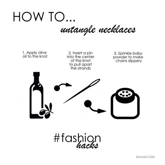Untangle necklaces.  #untangle #necklace #fashionhacks #stylehacks