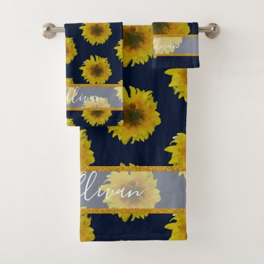 Navy And Yellow Floral Sunflower Towels With Images Yellow