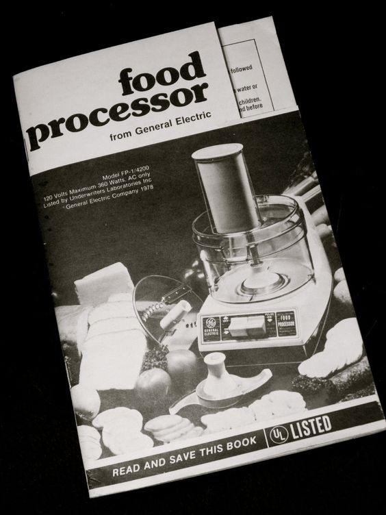 Vintage GE Food Processor instruction Manual book n recipes