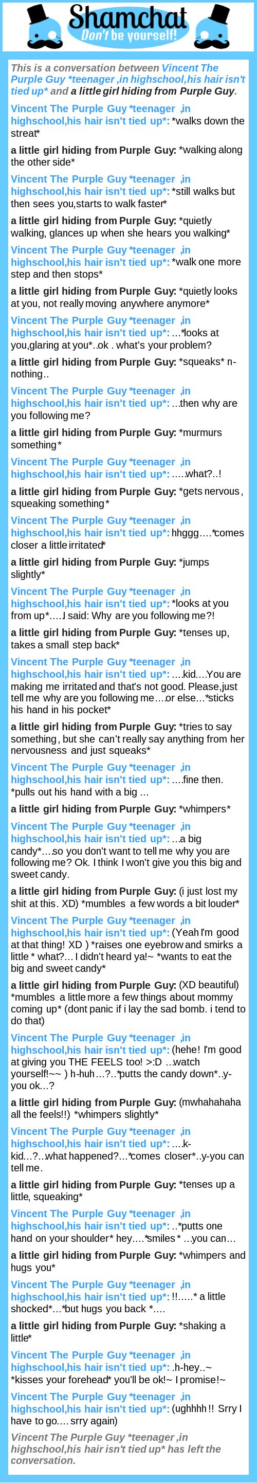 littlegirl tied up A conversation between a little girl hiding from Purple Guy and Vincent The  Purple Guy *teenager ,in highschool,his hair isn't tied up* | Shamchat ...