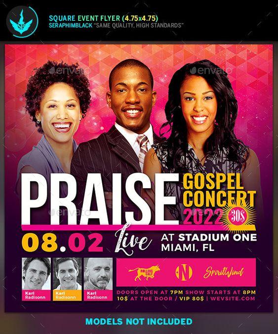 Praise Gospel Concert Flyer Template Gospel Concert Concert Flyer Flyer