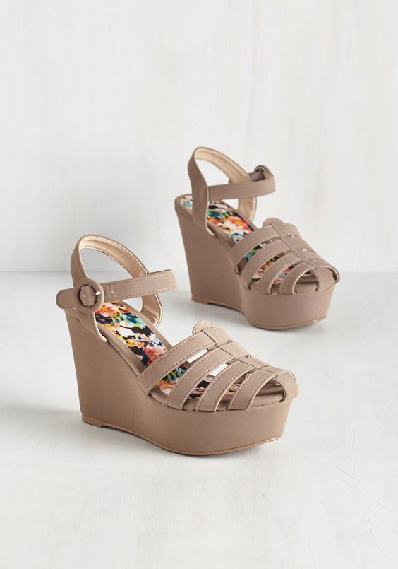 Observation Deck Date Sandal in Stone. The view from the top is the greatest around, and you know best from prancing about up there in these platform sandals! #tan #modcloth