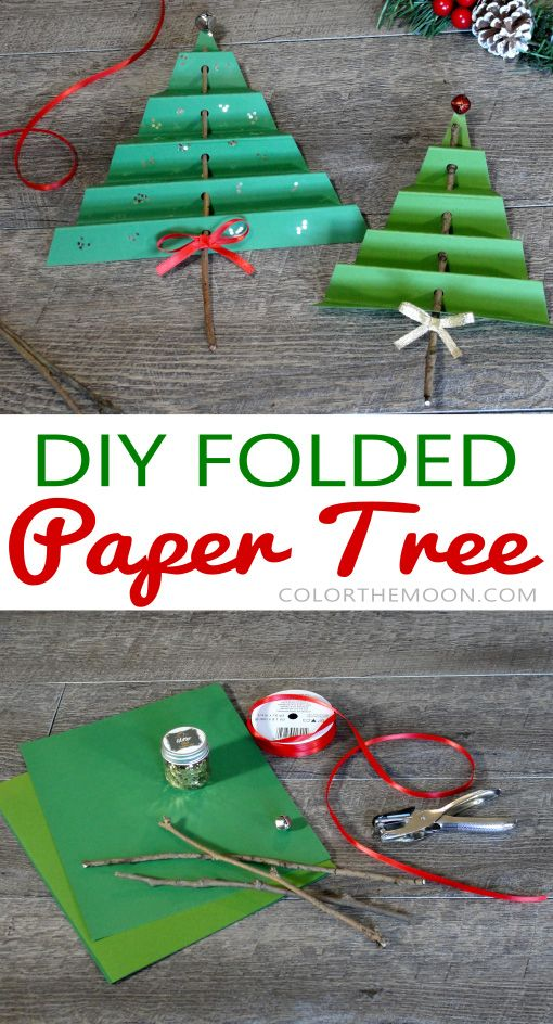 Folded Paper Tree An Easy Christmas Craft For Kids Christmas Crafts For Kids Easy Christmas Crafts Christmas Crafts