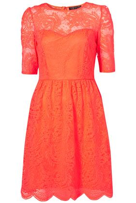 Flirty lace shift dress in a bold color.